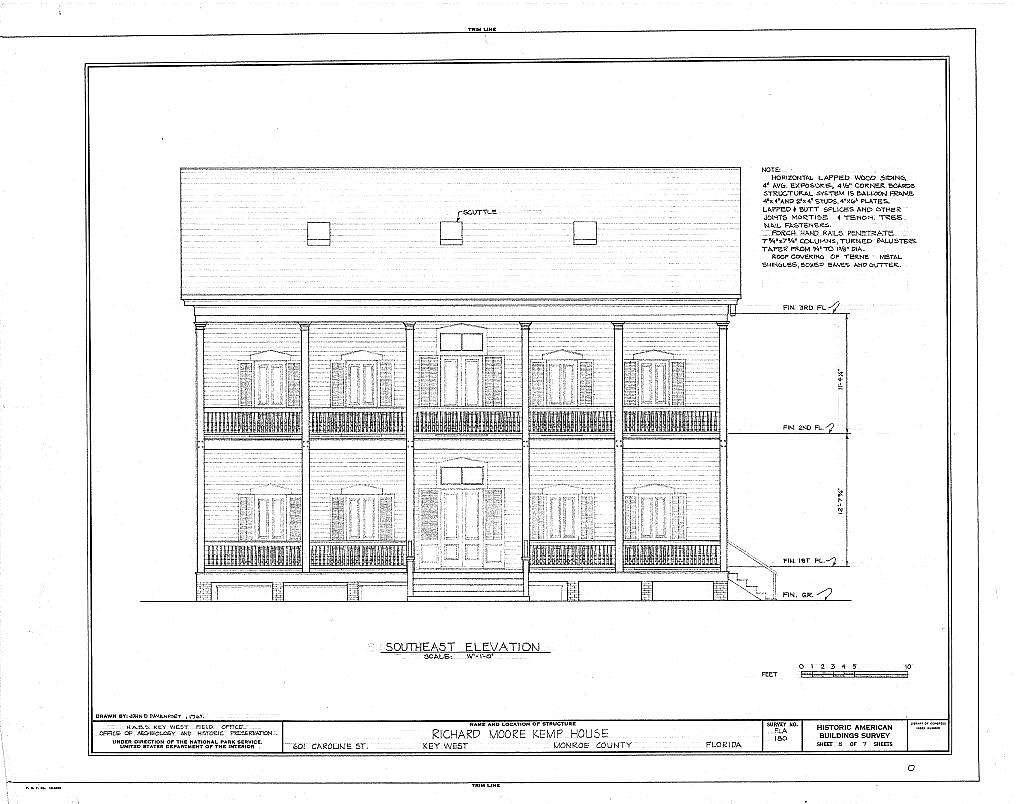 Richard Moore Kemp House, 601 Caroline Street, Key West, Monroe County, FL