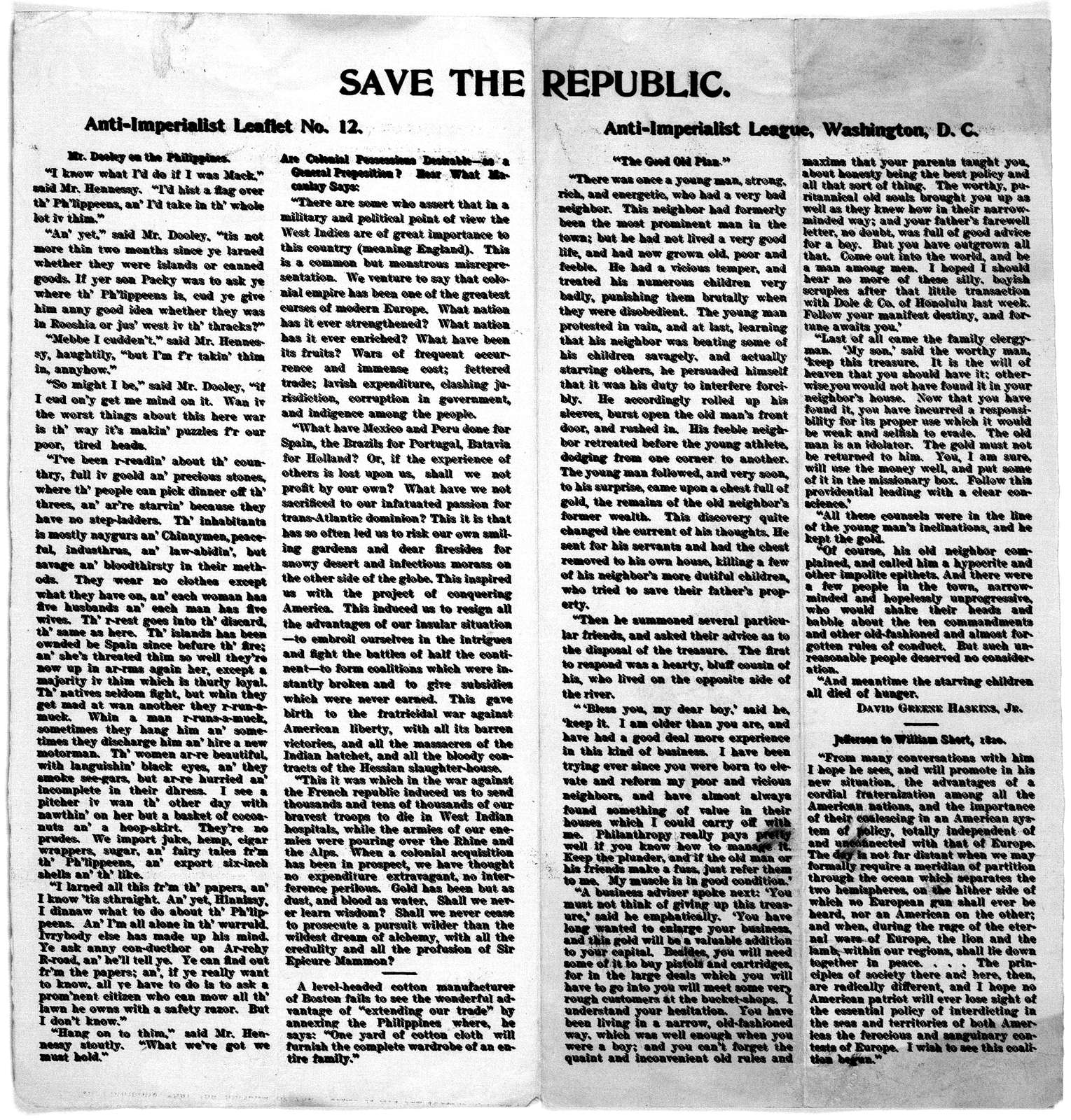 Save the republic. Anti-imperialist leaflet no. 11 [-21] [Washington, 1898-99].