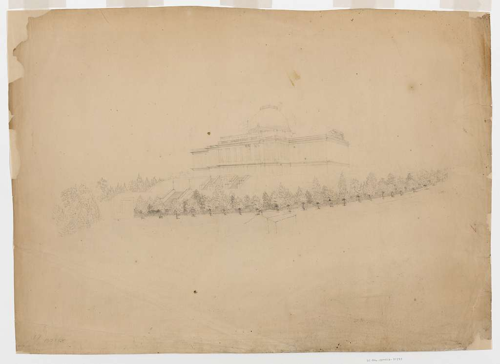 [Southwest view of the U.S. Capitol building with cast-iron fence. Preliminary drawing]