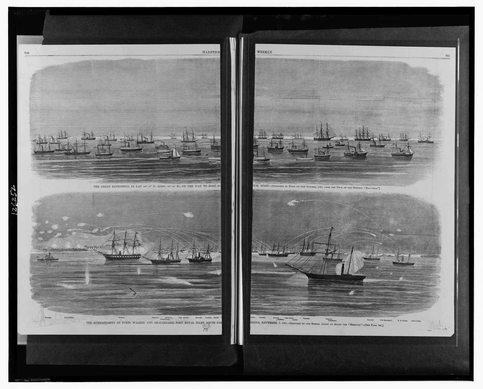 """The great expedition, [...] on the way to Port Royal Inlet / sketched at noon on 31st October, 1861, from the deck of the steamer """"Matanzas.""""  The bombardment of Forts Walker and Beauregard, Port Royal Inlet, South Carolina, November 7, 1861 / sketched by our special artist on board the """"Mercury."""""""
