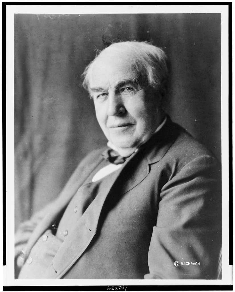 [Thomas Alva Edison, half-length portrait, seated, facing left]
