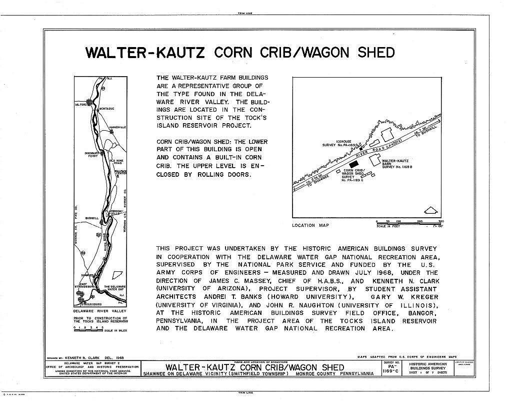 Walter-Kautz Farm, Corn Crib-Wagon Shed, River Road (Smithfield Township), Shawnee on Delaware, Monroe County, PA