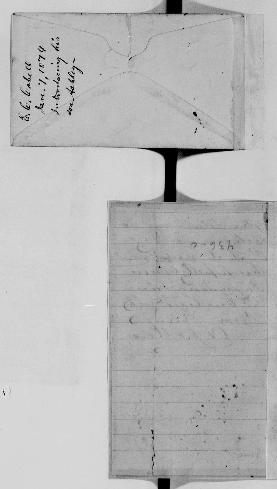 Alexander Hamilton Stephens Papers: General Correspondence, 1784-1886; 1873, Dec. 16-1874, Jan. 18