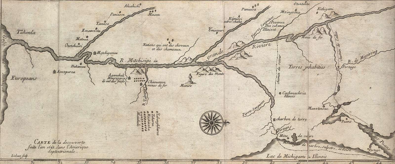 Carte de la découverte faite l'an 1673 dans l'Amérique septentrionale.