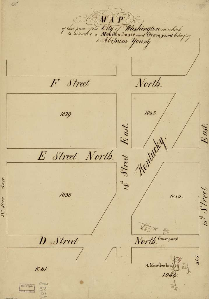 Map of that part of the city of Washington on which is situated a mansion-house and grave-yard belonging to Abraham Young.