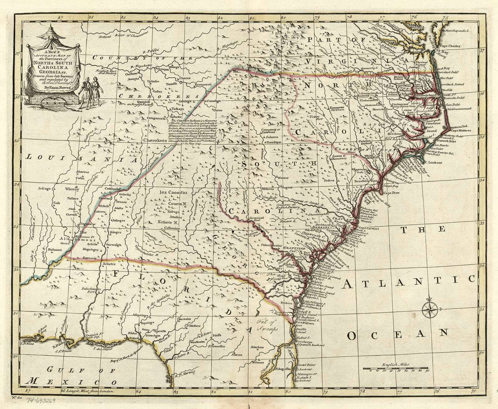 A new & accurate map of the provinces of North & South Carolina, Georgia &c.