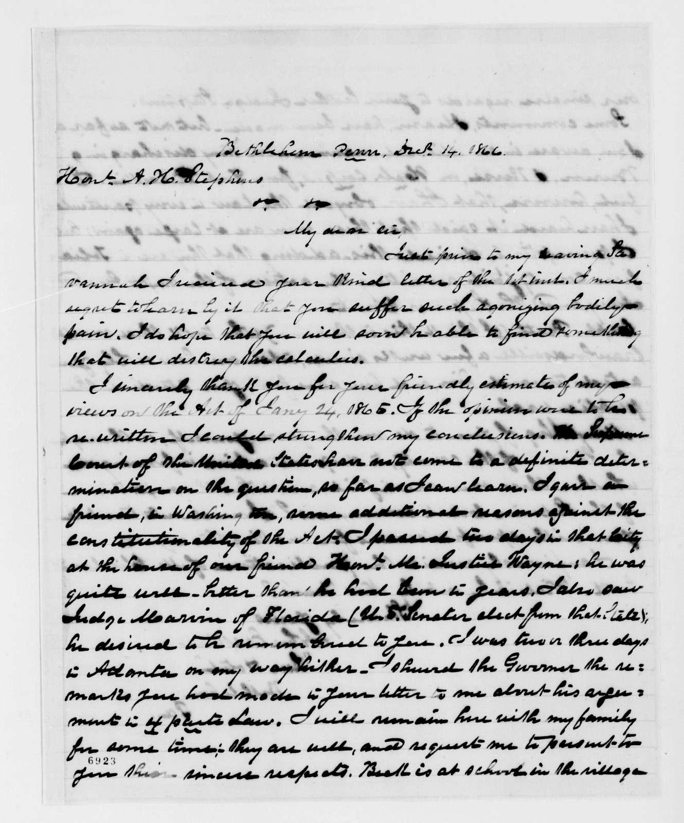 Alexander Hamilton Stephens Papers: General Correspondence, 1784-1886; 1866, Sept. 21-1867, Jan. 8