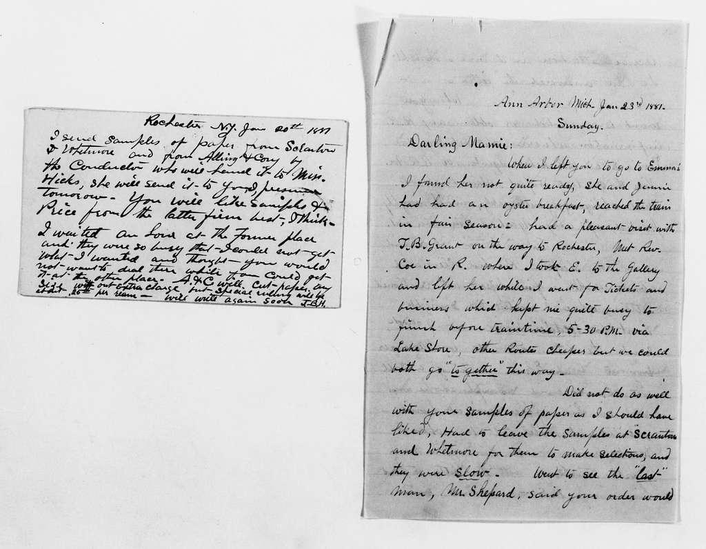 Clara Barton Papers: General Correspondence, 1838-1912; Hubbell, Julian B., 1881-1911