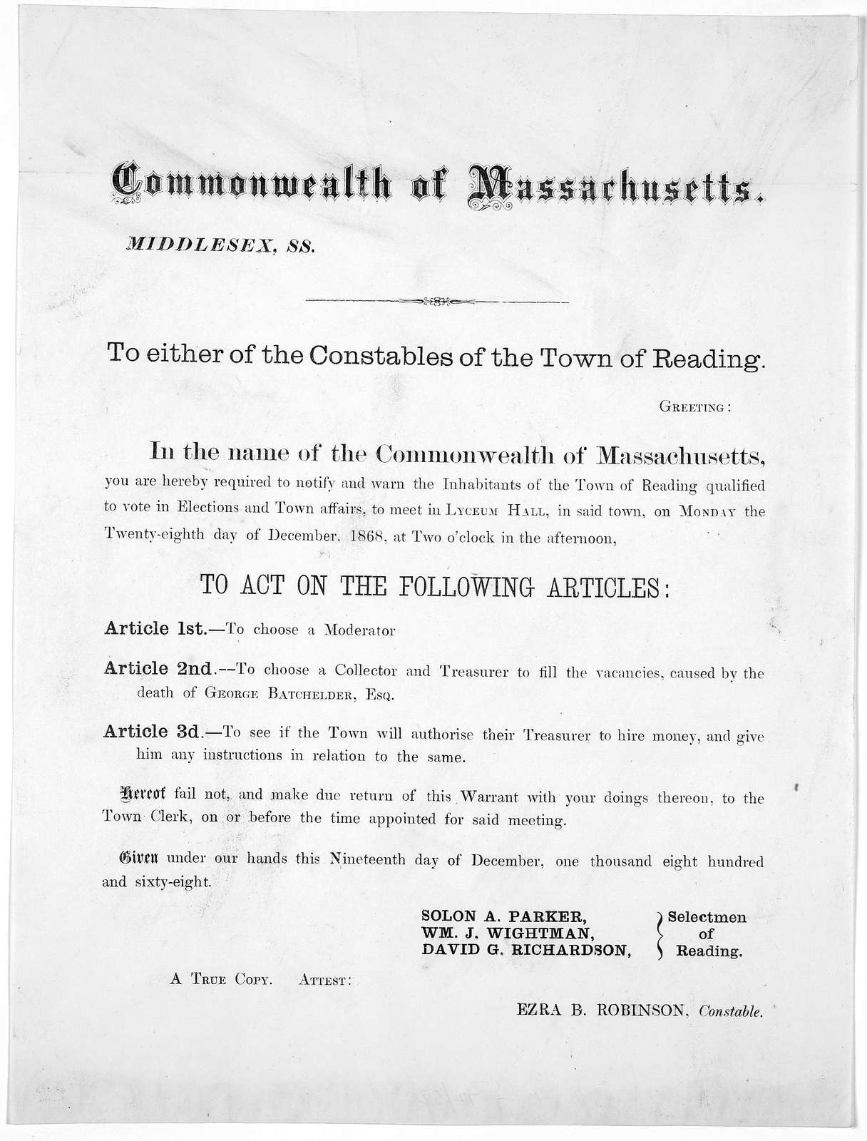 Commonwealth of Massachusetts. Middlesex. ss. To either of the Constables of the Town of Reading. Greeting: In the name of the Commonwealth of Massachusetts, you are hereby required to notify and warn the inhabitants of the Town of Reading quali