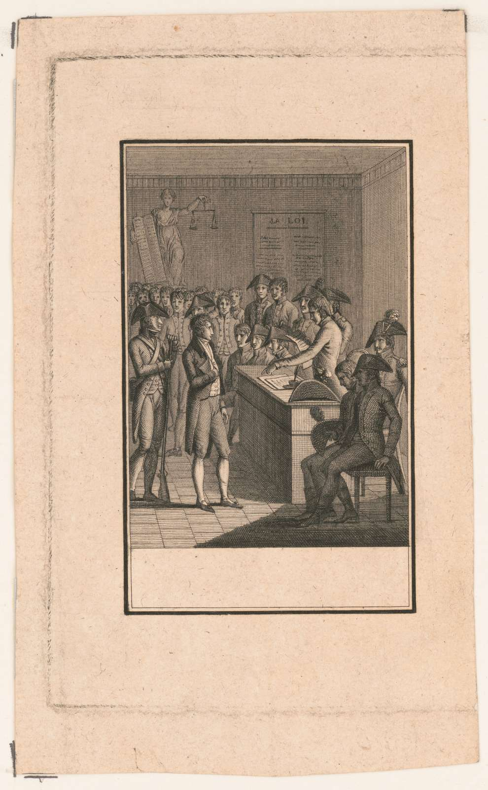 [Court scene, possibly during the reign of terror, with the accused man standing before the revolutionary tribunal]