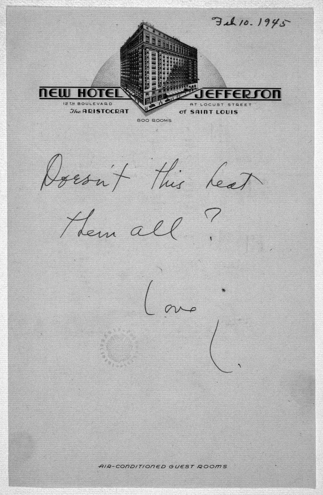 Letter from Leonard Bernstein to Helen Coates, February 10, 1945