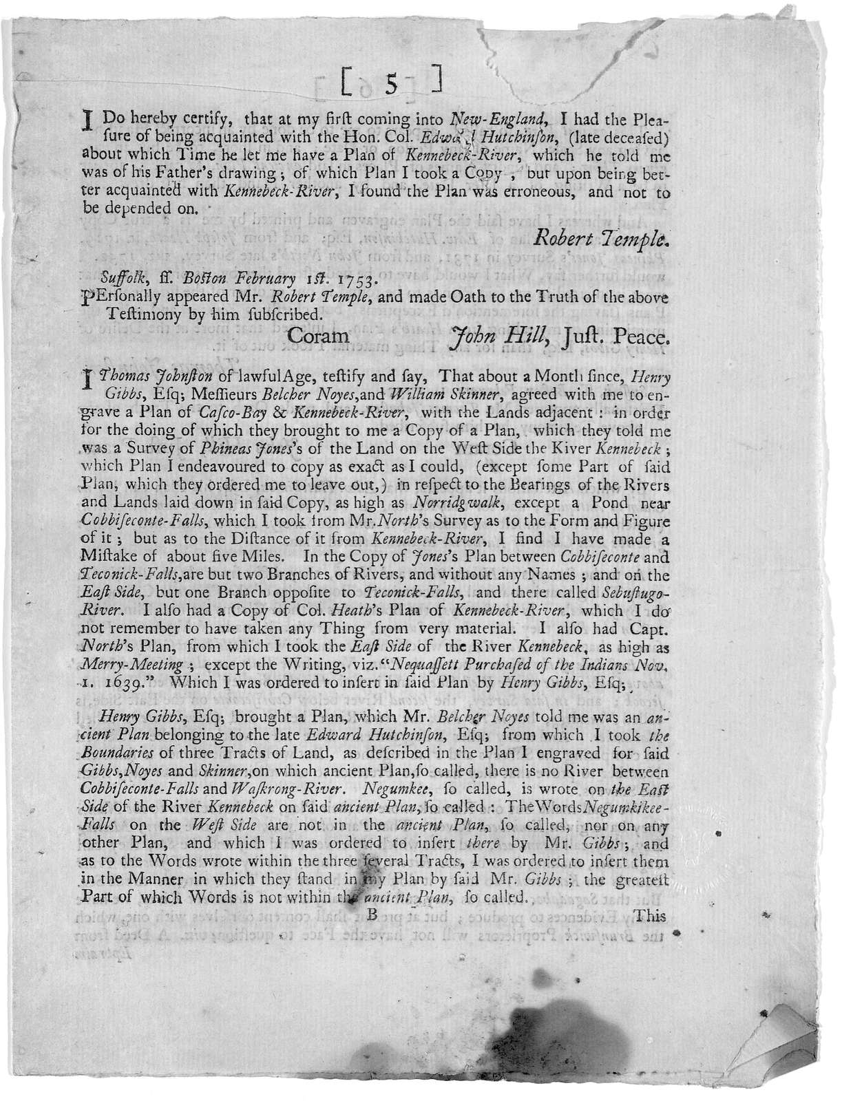 [Remarks on the plan and extracts of deeds lately published by the Proprietors of the Township of Brunswick (as they term themselves) agreable to their vote of January 4th, 1753.] [Boston 1753].