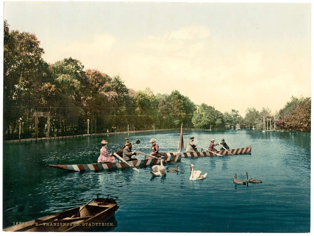 [Franzenbad, lake in the park, Carlsbad, Bohemia, Austro-Hungary]