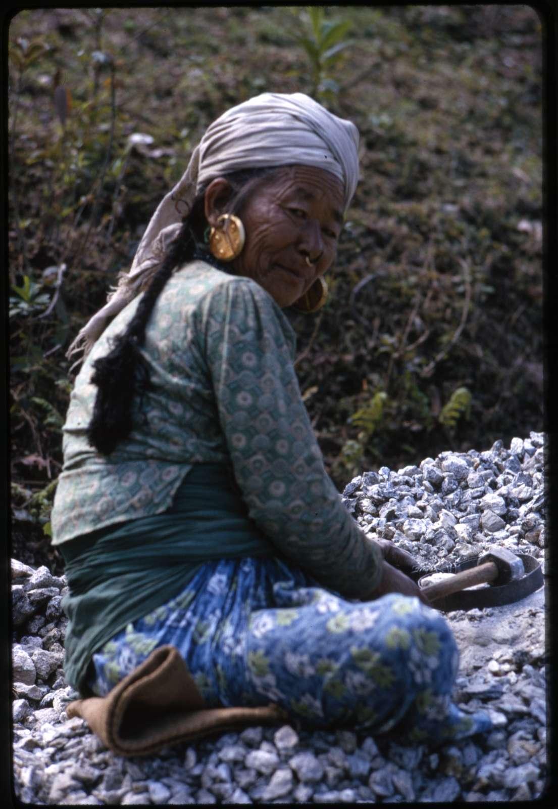 Road building. Women laborers