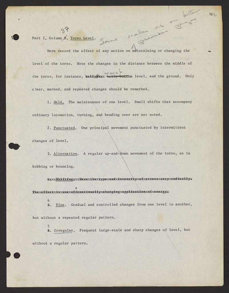 Alan Lomax Collection, Manuscripts, Performance style, Choreometrics, groundwork, Notes, Irmgard Bartenieff, Notebook