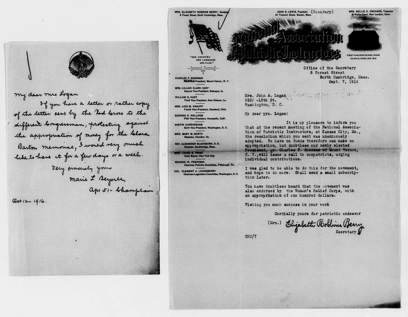 Clara Barton Papers: Miscellany, 1856-1957; Barton (Clara) Memorial Association; Logan, Mary S., correspondence, 1912-1917, undated