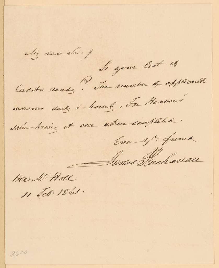 Joseph Holt Papers: General Correspondence and Related Material, 1817-1894; 1861, Jan. 26-Feb. 28