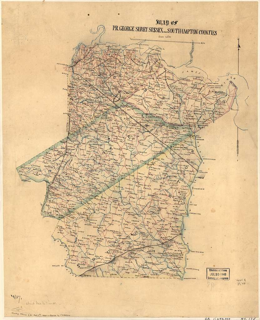 Map of Pr. George, Surry, Sussex, and Southampton counties /