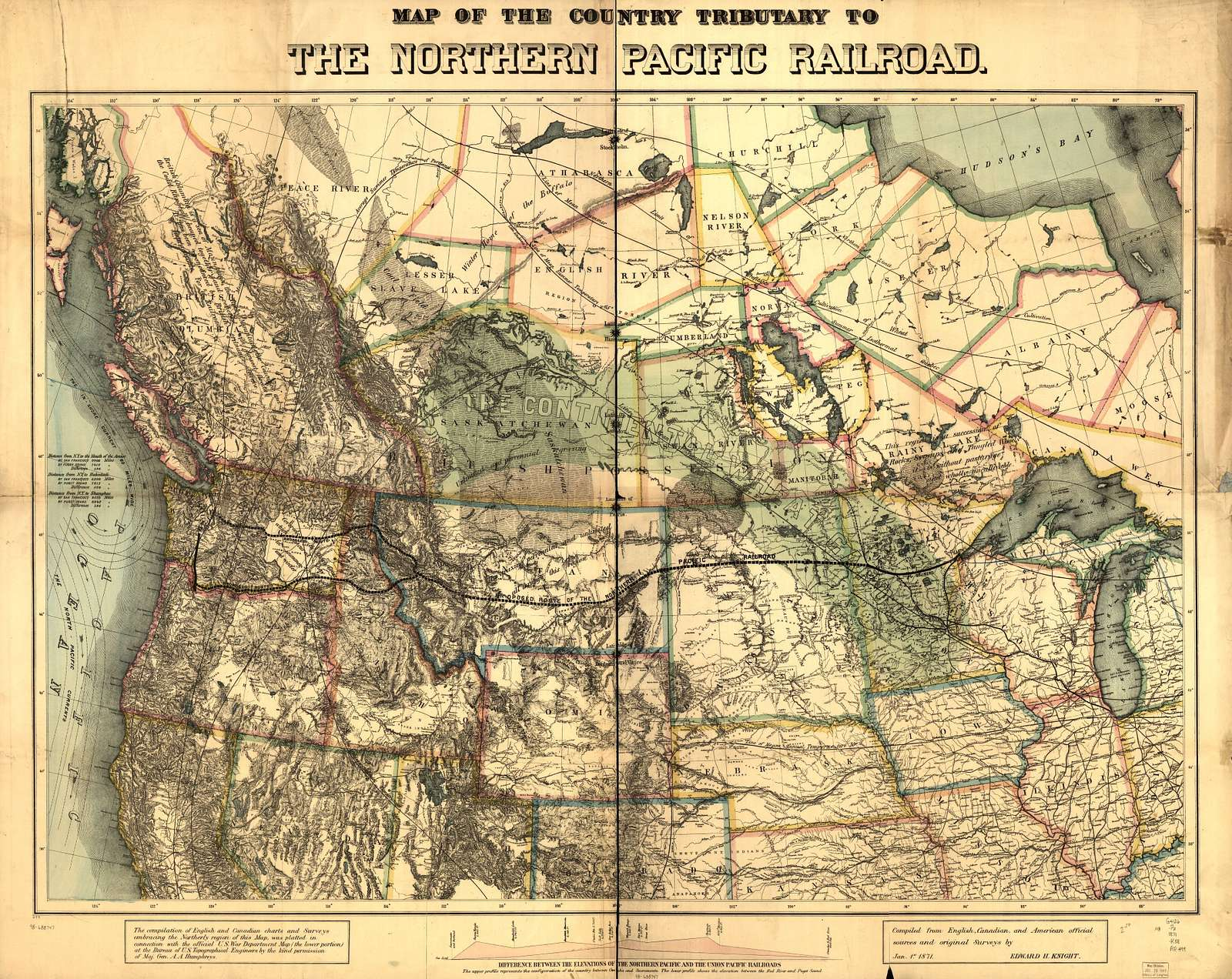 Map of the country tributary to the Northern Pacific Railroad, compiled from English, Canadian, and American official sources and original surveys by Edward H. Knight, Jan. 1st 1871.