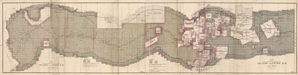 Map showing the location of the road and the land grant of the Atlantic and Pacific R.R. in Arizona ... in New Mexico.