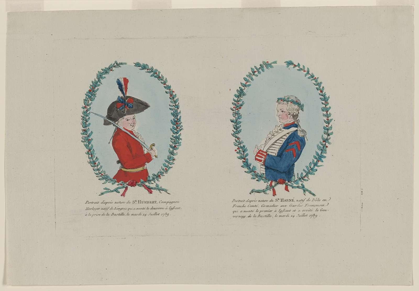 Portrait d'aprés nature du Sr. Humbert, Compagnon Horloger, natif de Langres, qui a monté le deuxieme à l'assaut à la prise de la Bastille, le mardi 14 Juillet 1789