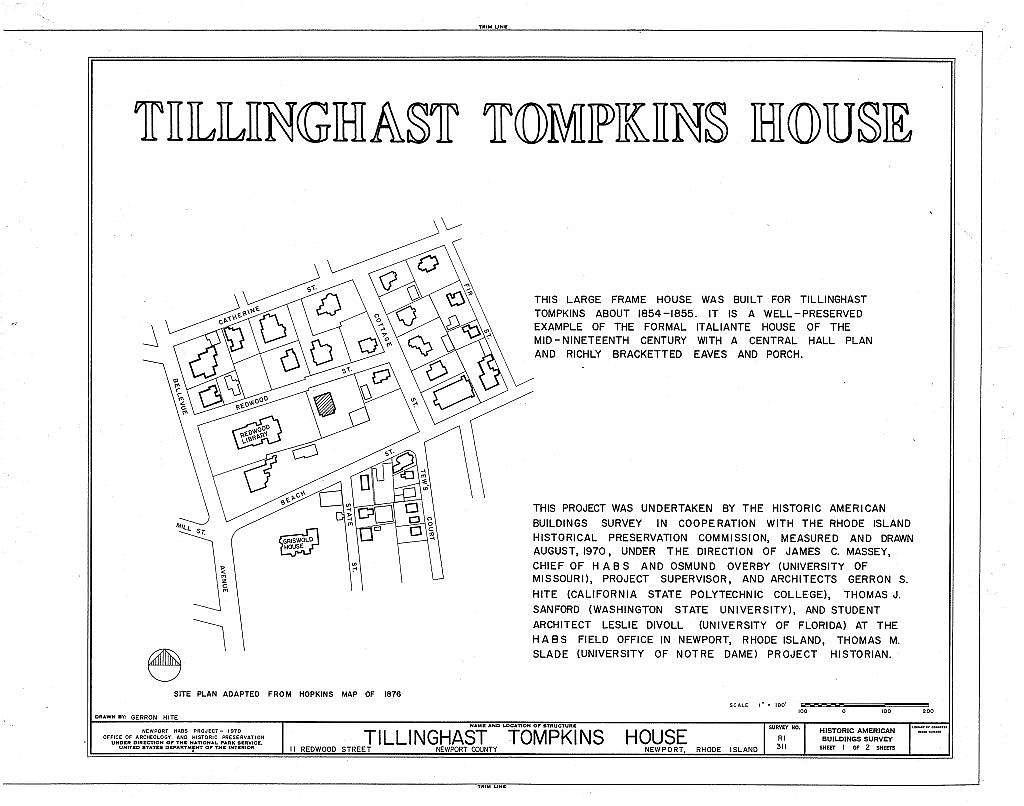 Tillinghast Tompkins House, 11 Redwood Street, Newport, Newport County, RI