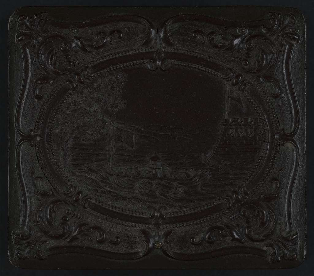[Union case for daguerreotype, ambrotype, or tintype showing monitor-class ship next to fort (front) and scroll motif (back)]