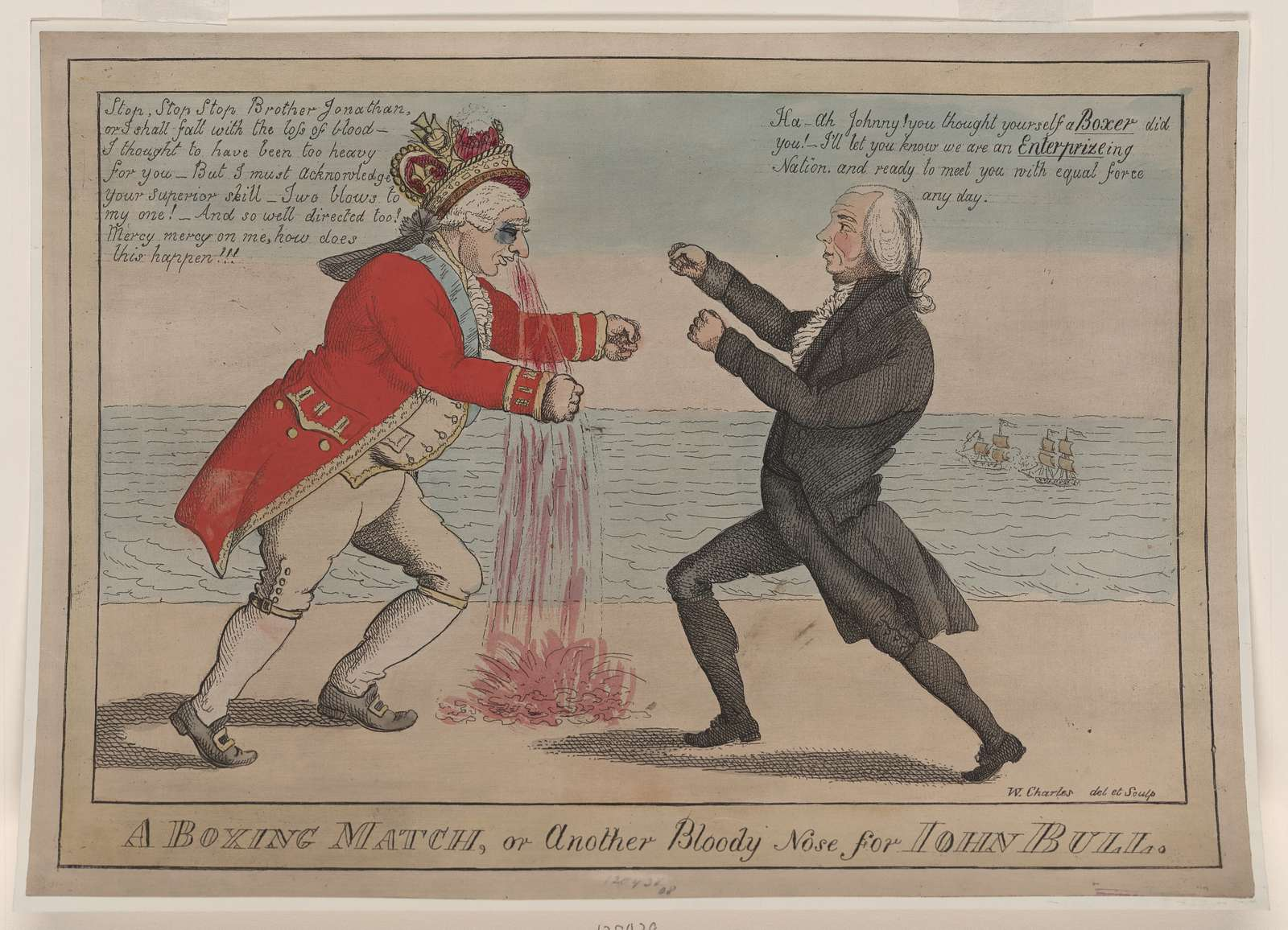 A boxing match, or another bloody nose for John Bull / W. Charles, del et sculp.