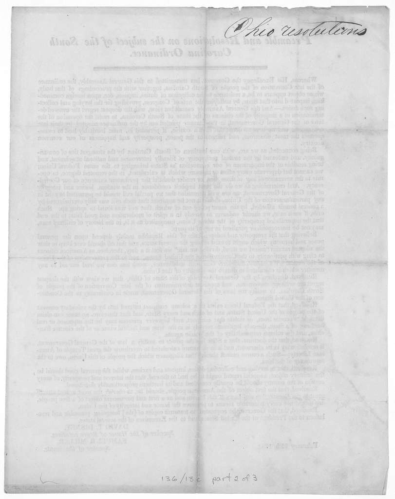 Preamble and resolutions on the subject of the South Carolina ordinance ... Resolution in relation to a call of a convention to amend the constitution of the United States ... Resolution relating to the President's proclamation and message ... [