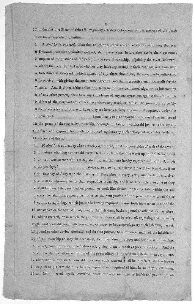 State of New Jersey. An act to regulate the fisheries in the river Delaware and for other purposes. [1816?].