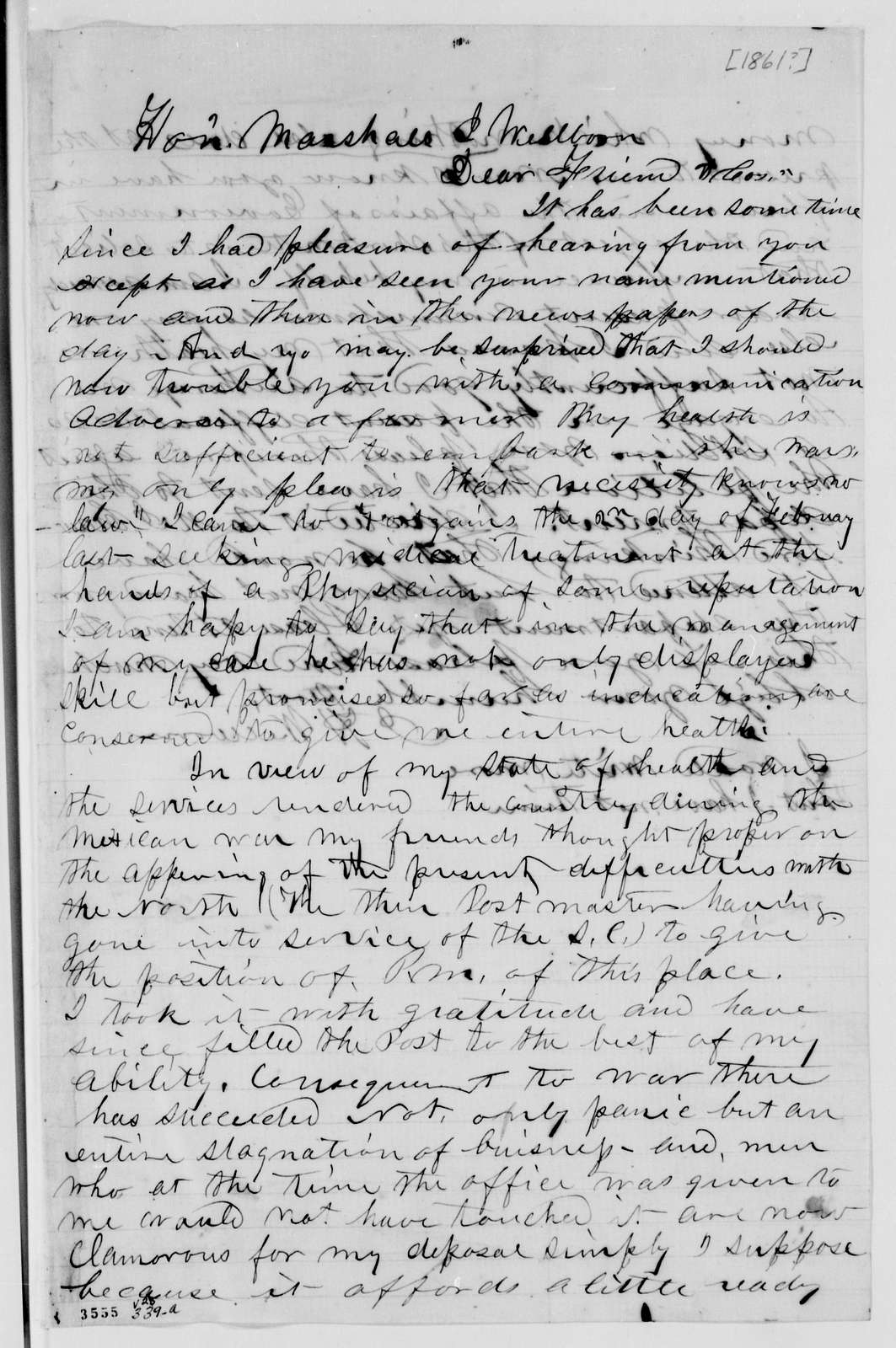 Alexander Hamilton Stephens Papers: General Correspondence, 1784-1886; 1861, Dec. 28-1862, Feb. 1