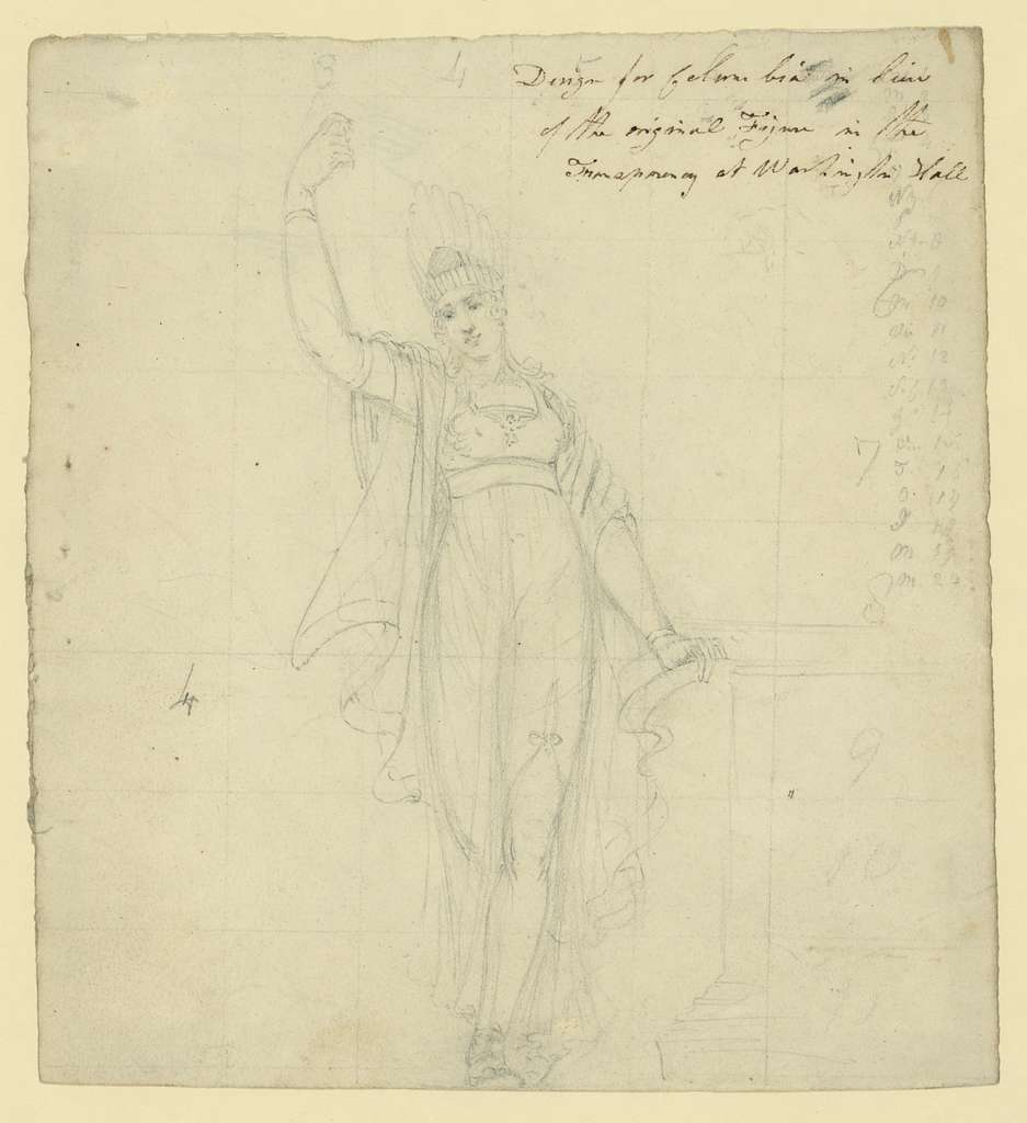 Design for Columbia in lieu of the original figure in the transparency at Washington Hall