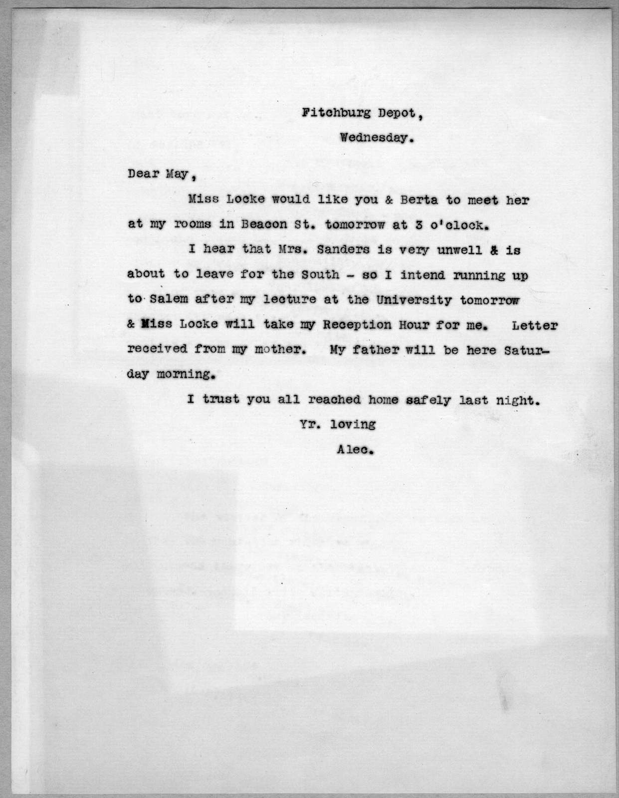 Letter from Alexander Graham Bell to Mabel Hubbard Bell, undated