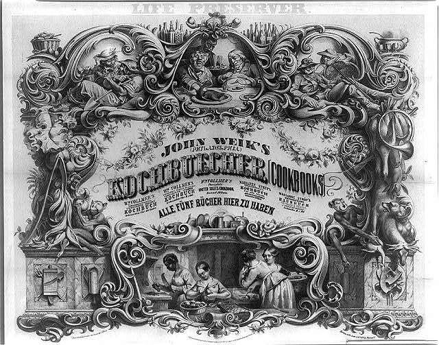 Life preserver. John Weik's (Philadelphia) Kochbuecher [cookbooks] ... Alle fünf Bücher hier zu haben / invented and drawn on stone by J. Nissle ; Herline & Co. lith., Philada.