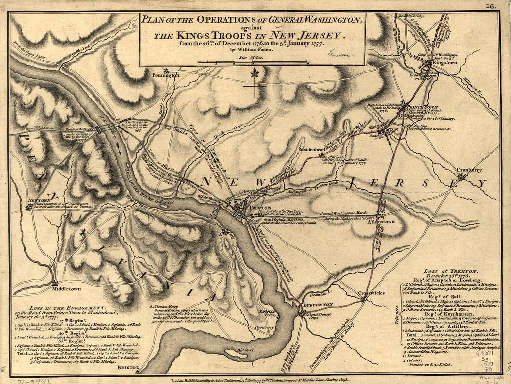 Plan of the operations of General Washington, against the Kings troops in New Jersey, from the 26th. of December, 1776, to the 3d. January 1777.