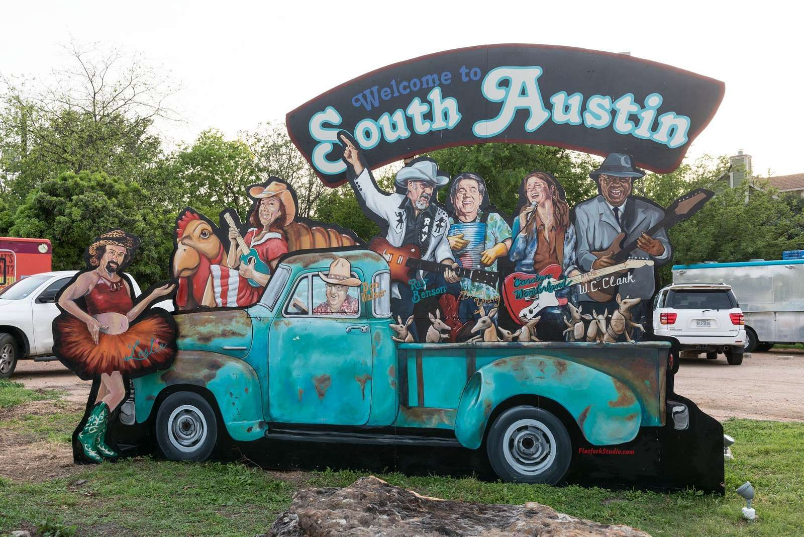 Some would call this eclectic, others funky, art in the vibrant South Austin neighborhood of Austin, Texas