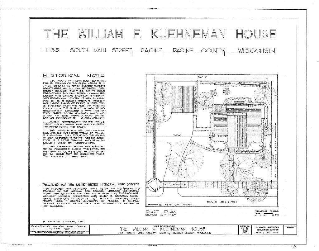 William F. Kuehneman House, 1135 South Main Street, Racine, Racine County, WI