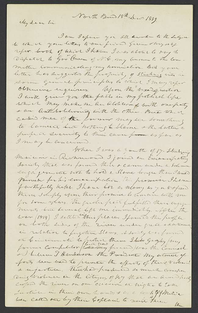 William Henry Harrison Papers: Series 5, Additions, 1793-1841; 2014 Addition; Letters written by Harrison, 1836-1839