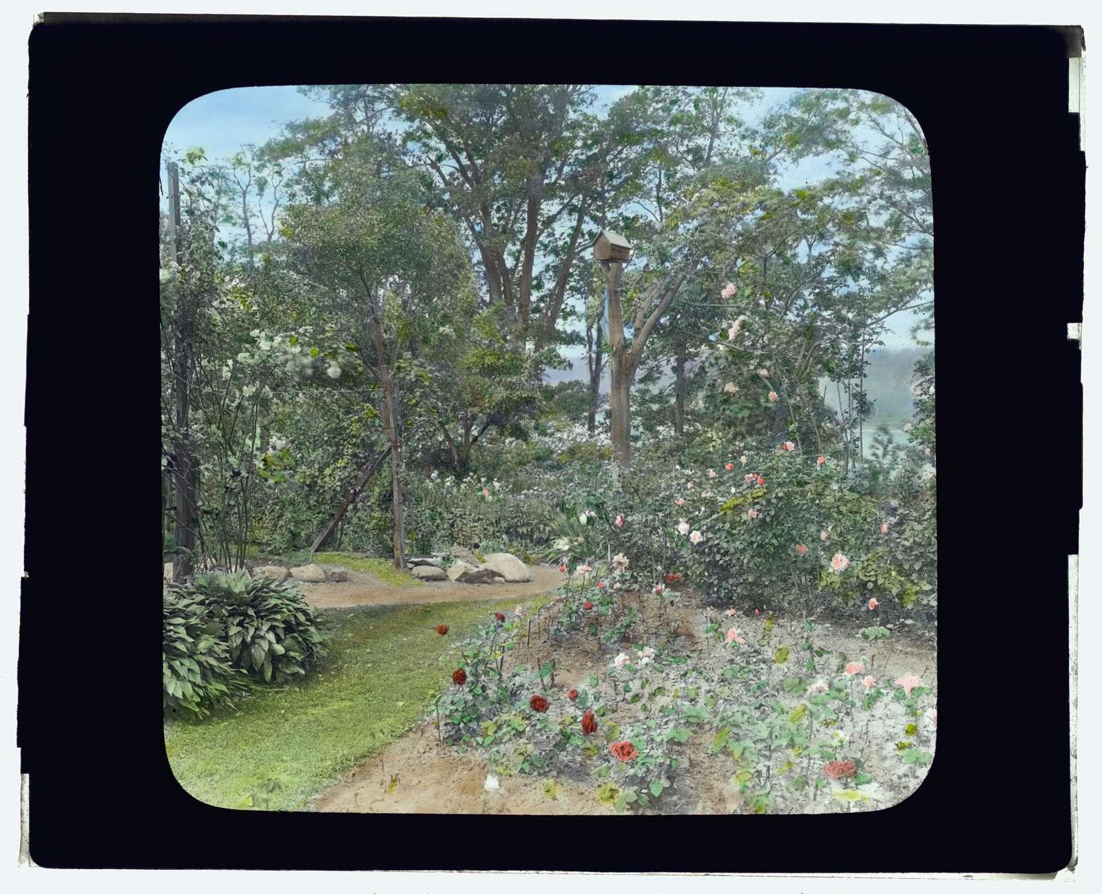 "[""Willowmere,"" Rear Admiral Aaron Ward house, 435 Bryant Avenue, Roslyn Harbor, New York. Rose garden]"