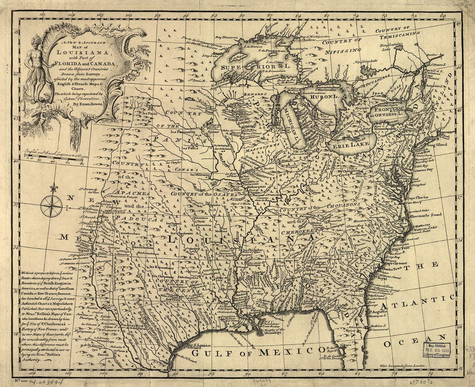A new & accurate map of Louisiana, with part of Florida and Canada, and the adjacent countries.