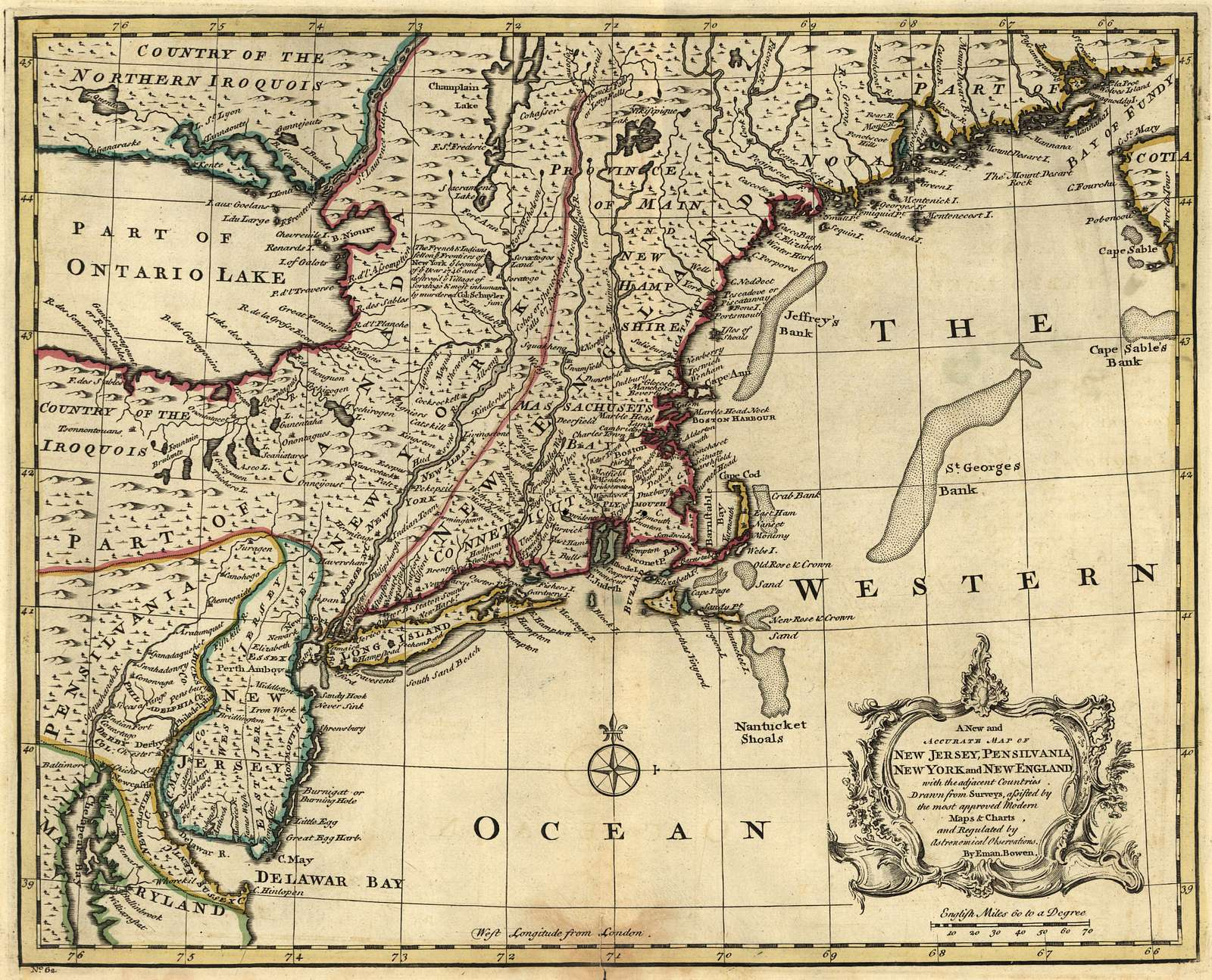 A new and accurate map of New Jersey, Pensilvania, New York and New England with the adjacent countries.