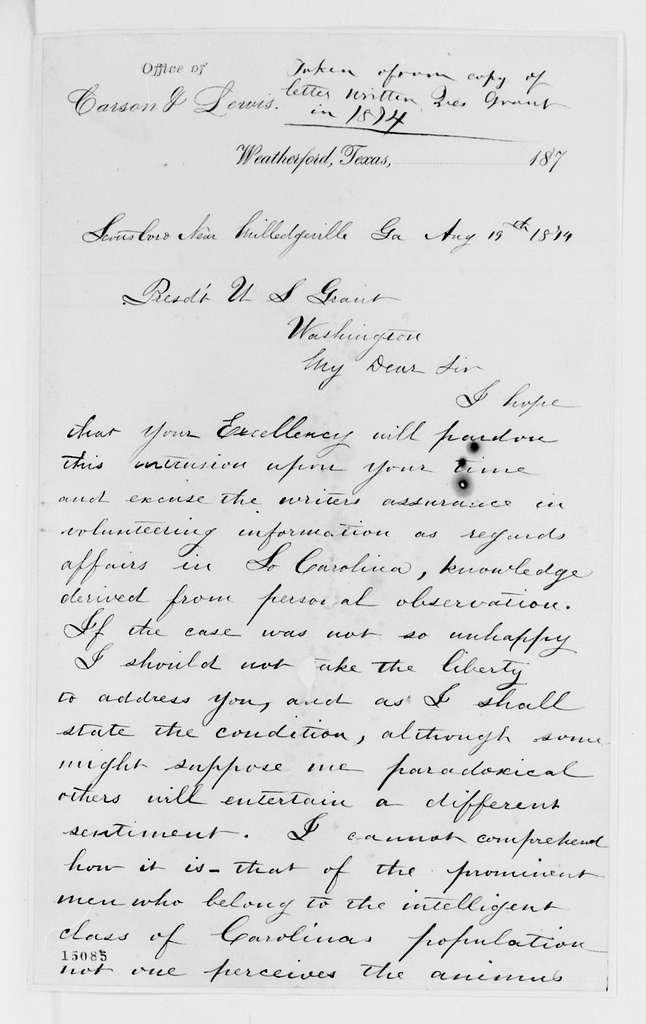 Alexander Hamilton Stephens Papers: General Correspondence, 1784-1886; 1874, July 25-Sept. 30