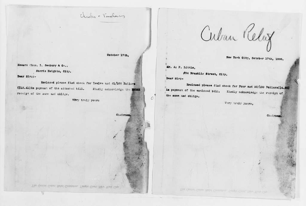 Clara Barton Papers: Red Cross File, 1863-1957; American National Red Cross, 1878-1957; Relief operations; Spanish-American War; Accounts and supplies; Payments, 1898-1899