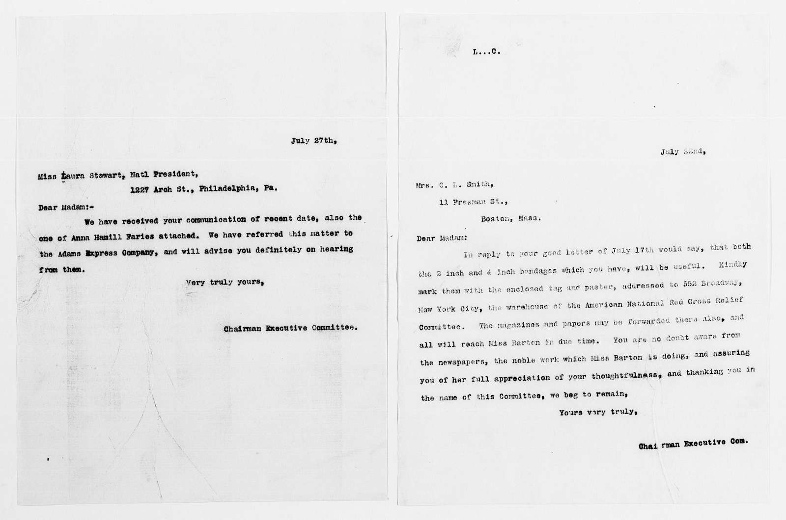 Clara Barton Papers: Red Cross File, 1863-1957; American National Red Cross, 1878-1957; Relief operations; Spanish-American War; Contributions and donations; Materials and supplies; 1898, July-1899, May
