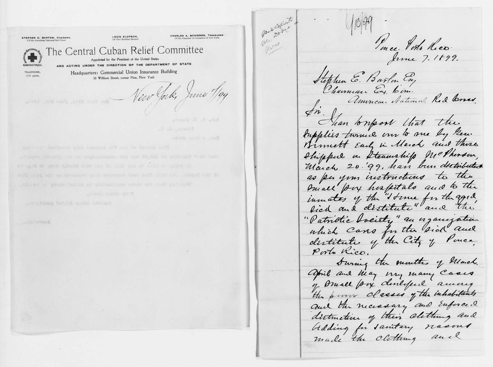 Clara Barton Papers: Red Cross File, 1863-1957; American National Red Cross, 1878-1957; Relief operations; Spanish-American War; Contributions and donations; Materials and supplies; 1899, June-Nov.