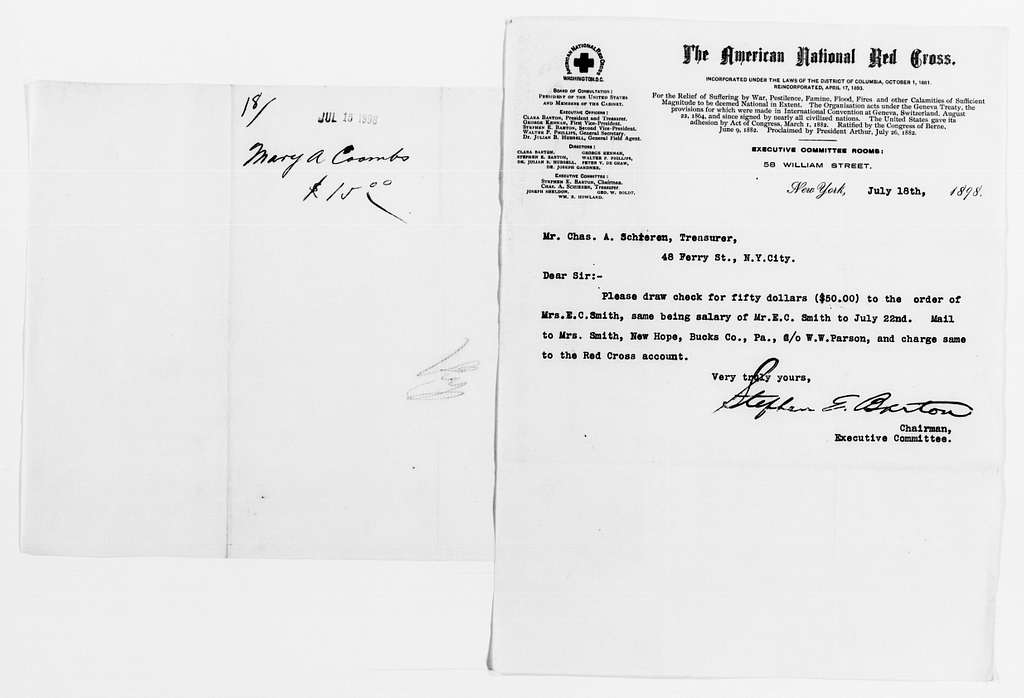 Clara Barton Papers: Red Cross File, 1863-1957; American National Red Cross, 1878-1957; Relief operations; Spanish-American War; Accounts and supplies; Salaries and expenses; 1898, June-1899, June, undated