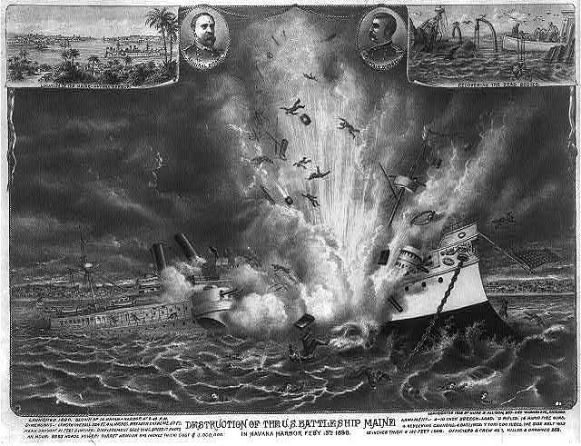 Destruction of the U.S. battleship Maine in Havana Harbor Feby 15th, 1898