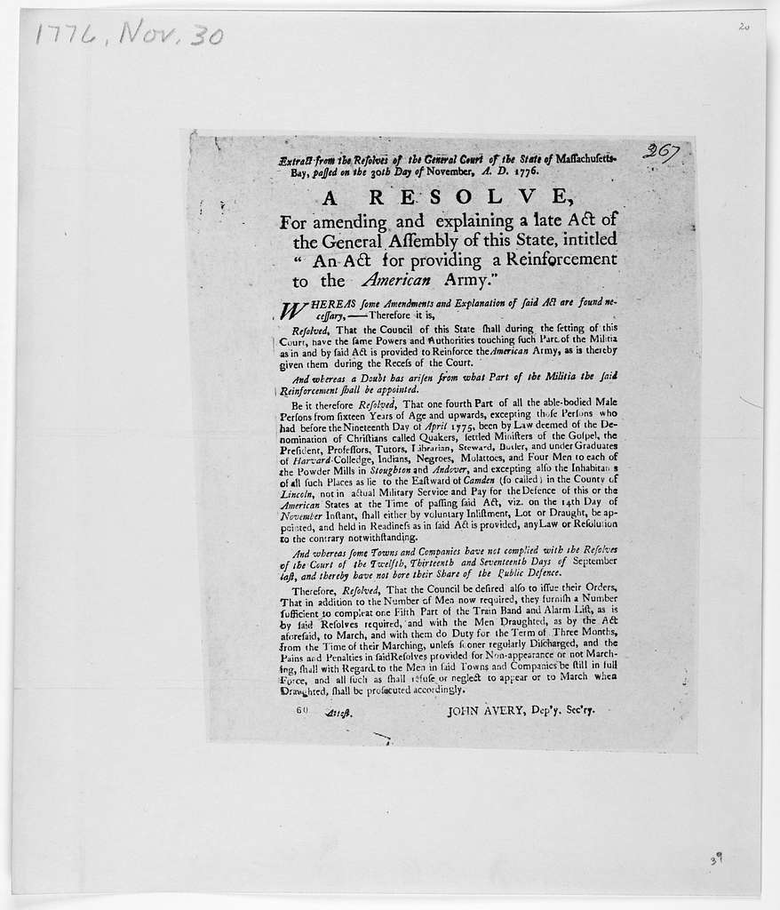 """Extract form the resolves of the General Court of the State of Massachusetts, passed on the 30th day of November, A. D. 1776. A resolve for amending and explaining a late act of the General assembly of this State, intitled """"An act for providing"""