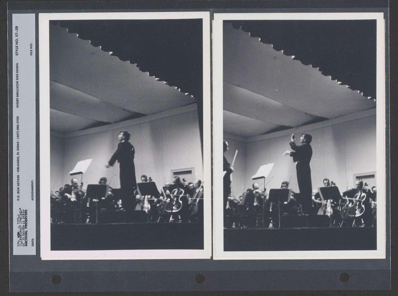Leonard Bernstein conducting with Isaac Stern as soloist, 1956