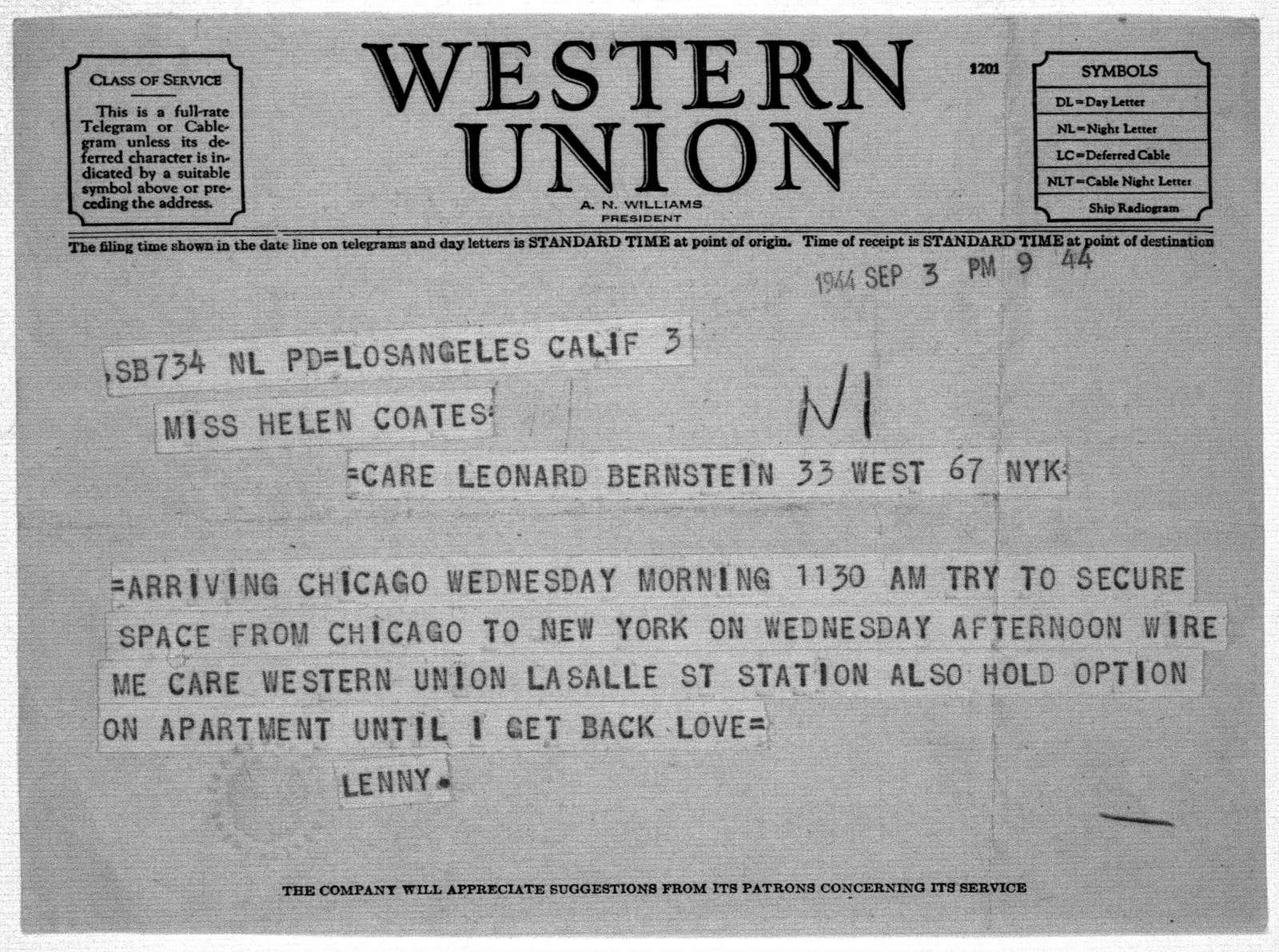 Letter from Leonard Bernstein to Helen Coates, September 3, 1944